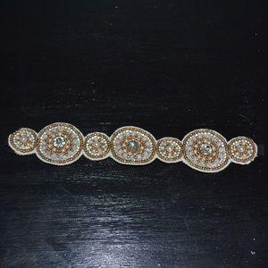 White and gold beaded headband
